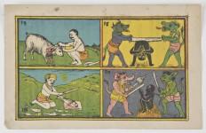Museo Civico Medievale - foglio a stampa colorato: supplizi infernali (f. Mario Guglielmo)