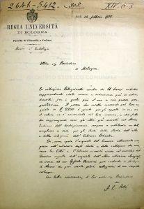 Archivio Storico Comunale: Lettera di Francesco Lorenzo Pullé al Prosindaco di Bologna