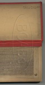 Biblioteca dell'Archiginnasio: frontespizio annotato da Pullé di un manoscritto riprodotto nel 1886 tramite riprese fotografiche