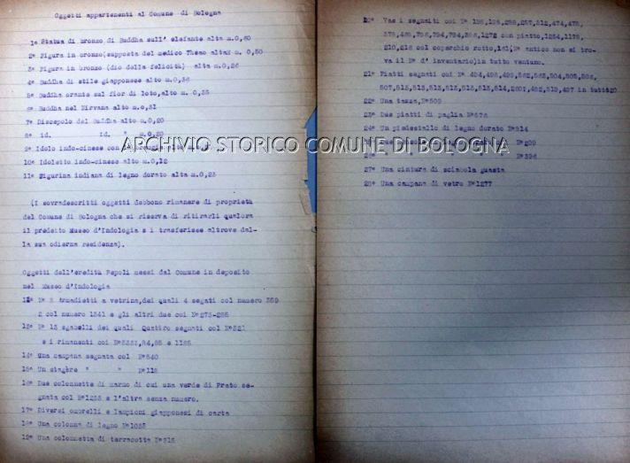 Elenco degli oggetti Pellegrinelli e Pepoli - Archivio Storico Comunale