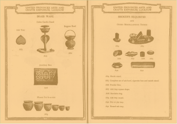 Catalogo dello United Provinces Arts and Crafts Emporium di Lucknow